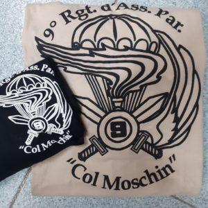 Maglietta militare paracadutisti cotone 9°rgt col moschin incursori , stampa davanti e stampa grande dietro