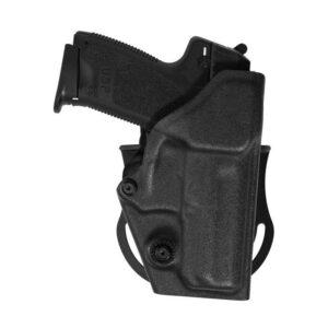 Fondina in polimero con meccanismo di ritenzione sul ponticello. All'inserimento dell'arma in fondina la sicura entra automaticamente. Doppio supporto cintura: paddle e passante con asole.